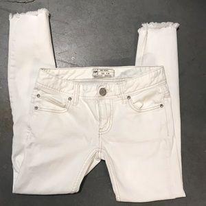 Free People Raw Hem White Crop Jeans
